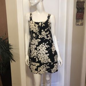 Wilfred 100% Silk Black and Ivory Floral Dress